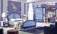 Wholesale Brand New Youth kids Teenage Children Soild Oak Wood MDF Boards Blue Royal Bedroom Furniture Set for girl