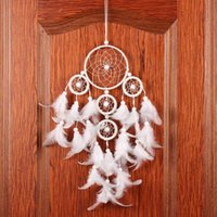 Wholesale Pure White Dream Catcher with Feather Wall Hanging Decoration Home Garden Livingroom Ornament Ring