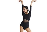 Wholesale Women Latin Dance Top New Style Adult Milk Silk Dance Costume Long Sleeve Dance Practice Jumpsuit