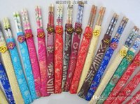 Wholesale BAMBOO CHOPSTICKS MATCHING SILK COVER BEAUTIFUL FAVOR GIFT FOR GOOD FRIENDS NEW YEAR GIFT FOR EVERYONE