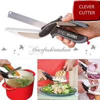 Wholesale Trendy Clever Cutter in Knife Cutting Board Scissors Stainless Steel multifunction Kitchen Food Cutter for Meat Vegetable Z284
