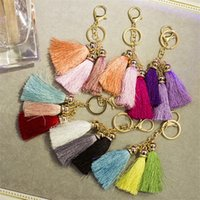 Wholesale Fashion Three Ice Silk Tassel KeyChain Exclusive Design Handmade Car Key Chain Diy Accessories F422