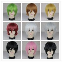 Wholesale Package mail cospaly black and white and red blue and gold color Anime male hair straight wig become warped cos the male
