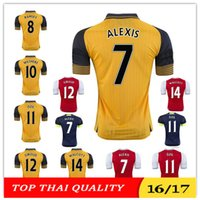 Wholesale Top Thai quality ArsenalINGS red home soccer jersey OZIL WALCOTT RAMSEY ALEXIS WILSHERE away yellow football RD shirts
