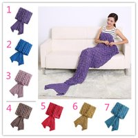 Wholesale 190 cm Adult Mermaid Blanket Sofa Blanket Super Soft Mermaid sleeping bag Hand Crocheted Blanket Air conditioning blanket