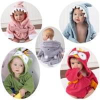 beach toddler hooded towel - Baby Shark Bathrobe Toddler Kids Owl Hippo Bath Towels Autumn Winter Cotton Hooded Wicking Sleep Robes Cartoon Swim Beach Blankets