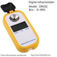 Wholesale New best white pocket yellow digital refractometer brix sugar DR102 with protective sleeve refractive index nd