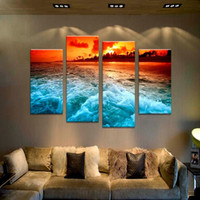 arts ideas - 4PCS the best selling tropical sunset Wall painting print on canvas for home decor ideas paints on wall pictures art F