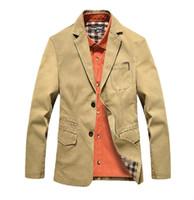 big button coat - 2016 Men s Big Size Blazer Jacket Suit Coat Slim Cotton Blazer Casual Jacket Two Buttons OutWear