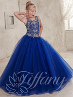 Wholesale 2016 New Girls Pageant Dresses For Teens Crystal Beads V Neck Long Royal Blue Ball Gown Size Party Children Flower Girl Gowns