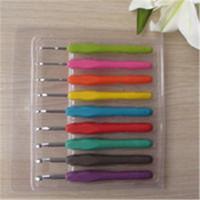 Wholesale 9Pcs Set Multi Colors Soft Handle Aluminum Crochet Hooks DIY hand knitting tools size spec from mm to mm
