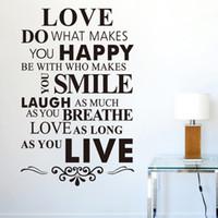 Precio de Calcomanías personalizadas extraíbles-Wall quotes Love House Rule Adhesivos de pared personalizados en inglés Papel de pared desmontable de vinilo Papel de pared 86 * 56cm