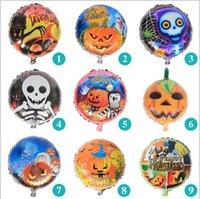 aluminium skull - 2016 Halloween balloons inch round Happy Halloween pumpkin head Aluminum balloons for Party Decoration Halloween skull balloons Kids Toy