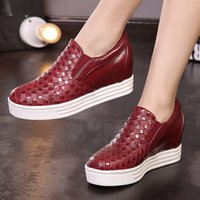 b colleges - 2016 Plus size new spring autumn college style round toes increase height flat heels slip on wedding women loafers dress shoes
