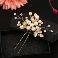Precio de Las cabezas de flor clips-6 PCS de la hoja de la hoja del oro de la flor U pega los pernos de pelo de la vendimia del clip de la perla Accesorios de la boda Pieza principal nupcial cristalina