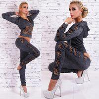 Wholesale Autumn Leopard Velour Tracksuits Women Track Suit Sport suits Leopard jogger suits Black Gray Color