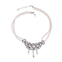 acrylic diamond crystal beads pendant - Crystal Alloy Acrylic Flower Chokers Fashion Jewelry for Women Diamond Strings Pendant Necklaces White Bead Necklace