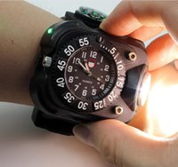 Wholesale 3 In High Bright Watch Flashlight Torch With Compass Outdoor Sports Mens Fashion Waterproof Led Rechargeable Wrist Watch Lam pRetail box