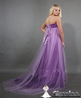 Wholesale Sexy Cocktail Dresses New Fashion Women s Chiffon Strapless Lace up Beading Purple Evening Gowns Plus Size Bride Formal Prom Dress