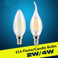 Wholesale 10pcs E14 W Vintage LED Filament Candelabra Bulbs C35 Bullet Top v v k k