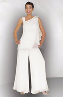 women dress suits - Mother Of The Bride Groom Pant Suit Ruched Crystal Plus Size White Chiffon Elegant Women Formal Wedding Guest Dresses