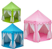 Precio de Los niños juegan-<b>Kids Play</b> Tents Príncipe y Princesa Party Tent Niños Indoor Outdoor tienda Casa de Juego Tres colores para elegir
