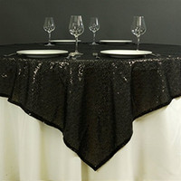 Wholesale Cheap Inch Round Black Sequin Tablecloth or fabric tablecloths For Wedding Xmas Party Vintage Home Decor