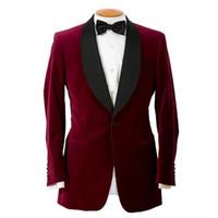al por mayor chaqueta de esmoquin de terciopelo-Al por mayor-Un botón rojo oscuro terciopelo smokinges del novio de los padrinos de boda de los hombres de los trajes del novio del baile de K (+ Faja + Tie Jacket + Pants): 666