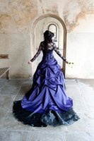 accent ball - Purple Ball Gown Gothic Wedding Dresses Strapless Sheer Long Sleeve Lace Accents Puffy Bridal Gowns Vestidos