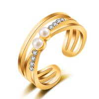 accents and gifts - Fashion k Rose Gold Plated Simulated Pearl And Tiny Rhinestones Accent Rings For Women
