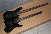 Cheap Double neck guitar 6 strings steinberg electric guitar 4 string bass metal black color headless guitar