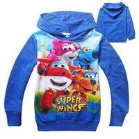 Wholesale Superwings cartoon boys hoodies long sleeve children jackets kids cotton sweatshirts kids spring autumn clothing hooded jumpers
