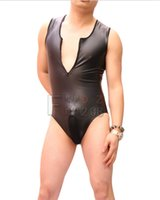 Wholesale New Sexy Men Thick High Elasticity PU Faux Leather Vest Zipper Open Crotch Mens Bodysuit Tank Top Night Club Dance Gay Wear