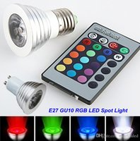 Wholesale LED spotlight RGB LED bulb E27 GU10 W Color Changing Light Lamp with IR Remote Control Party Lights