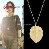 achat en gros de laisser collier en or-Simple européenne nouvelle mode vintage punk feuilles d'or pendentif collier clavicule chaînes chandelier femmes Livraison gratuite E147