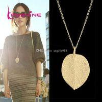 Wholesale Simple European New Fashion Vintage Punk Gold Leaf Leaves Pendant Necklace Clavicle Chain Charm Jewelry Women E147
