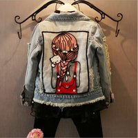 baby and children fashion wear - New Fashion autumn and spring children clothing clothes baby girl outwear coat girls jackets denim kids tops jeans wear