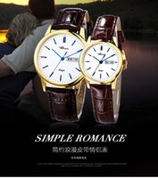 analog company - 2016 New Lovers Watches Japan Movement Analog Quartz Watch Genuine Leather Strap Waterproof Gift Company presents Elegant Fashion