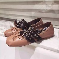 ballet dance belt - 2016 Summer New Arrival Cosy Woman Casual Ballet Flats Dance Shoes Slik Lace up Sheepskin with belt Ballerina Flats for Women Causal Shoes
