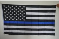 american police - Subdued Thin Blue Line Stripes American Flags grommets Police Cops Flags Black White Blue Flags