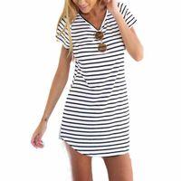 Wholesale Striped Shirt Women Brand New Casual O Neck Short Sleeve Loose T Shirt For Women Girls
