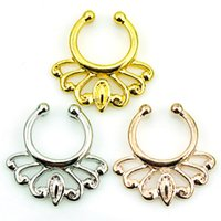 Wholesale Mix Order Nose Rings Stainless Steel Pierced Septum Hoop Color Fake Nose Studs Body Jewelry