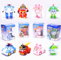 action toy cars - 4pcs set robocar poli robot transformation car toy amber helly roy pvc action figure kids best gift with original box