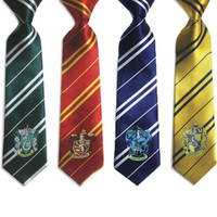 Wholesale College style series Harry Potter Gryffindor tie with badge Slytherin Ravenclaw Costume Accessory tie multicolour stripe ties