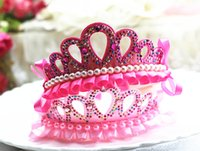 Wholesale Hot Children Queens Crown Jewelry Hair Band Tiaras Three dimensional Children Shiny Crown Headbands for Childrens Day Gift Girls Gift