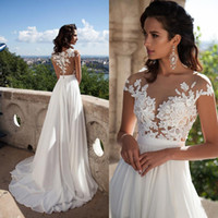 Wholesale Sexy Bridal Summer Dresses Illusion Bodice Beach Wedding Dress Cap Sleeve Country Wedding Dresses Lace Appliques Buttons Back Split