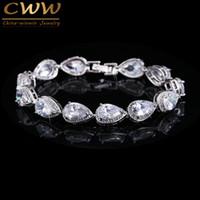 bars of gold - Best Seller Of Woman Silver Plated Rhinestone CZ Diamond Bracelets Bridal Wedding Jewelry Gift CB135