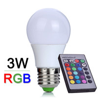 Wholesale NEW E27 W RGB LED Lamp Lampara LED RGB Bulb V V V High Power LED Light Lamp Energy Saving With key IR Remote