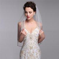 beaded garments - One Layer Bridal Veils With Comb elbow length Tulle Beaded Edge Short Wedding veil