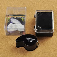Wholesale 40X mm Glass Magnifying Magnifier Folding Jewelry Compact Pocket Loupe Led Light